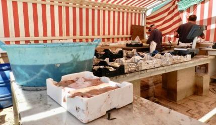 il mercato del pesce vicino al molo