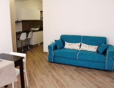 una cucina soggiorno con divano letto matrimoniale, adatto a coppie