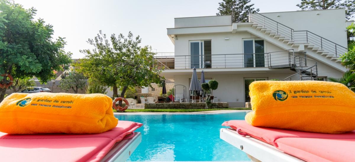 pool with solarium in the villa near the Mediterranean sea