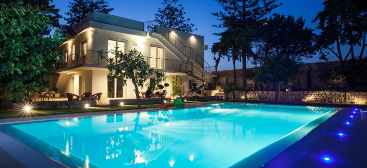 The villa at twilight